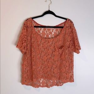 Coveted Clothing Lace Short Sleeve Crop Top Shell